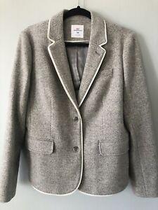 Vineyard Vines Gray Chevron Cream Piping Wool Blazer Jacket Women's Size 10