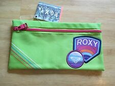 NEW ROXY SCHOOL STUDENT PENCIL Accessary CASE Pouch BAG Lime Green