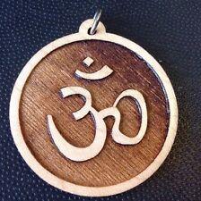 """Om 🕉 Eighth Chakra Maple wood pendant  1.75"""" Rope Necklace Yoga Meditation gift"""