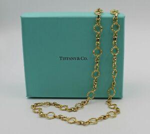 "Vintage Unusual Heavy Tiffany & Co 18K Bamboo Circle Link Necklace 26"" w/Box"
