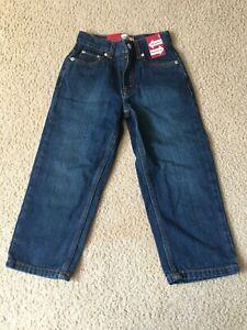 Levi's 569 Boy Faded Dark Size 5 Adjustable Waistband Slim Jeans 20 X 17