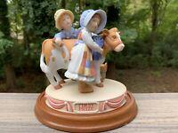 Holly Hobbie 1985 RARE Figurine THE BLUE RIBBON Boy Girl County Fair Cow Vintage