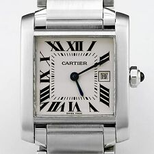 Cartier White Face Tank Francais Stainless Steel Watch
