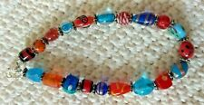 Jewelry / Hand Made Artisan Jewelry Anklet / Blue & Red Beaded Anklet
