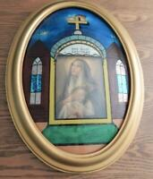 Antique GOD BLESS OUR HOME Religious Reverse Painted Picture BUBBLE GLASS  Frame