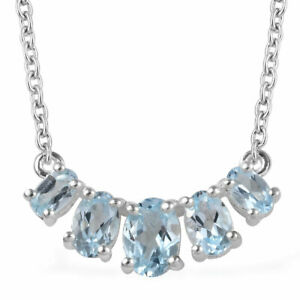 """925 Silver Blue Sky Topaz Necklace Women Jewelry For Gift Size 18"""" Ct 2.4"""