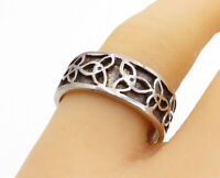 925 Sterling Silver - Vintage Oxidized Celtic Knot Detail Band Ring Sz 9- RG3809