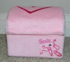 Vtg Mattel Barbie Pink Velour Jewelry Box W/Embroidered Ballet Slippers & Heart