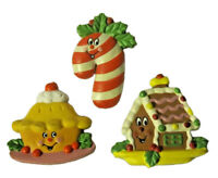 """AVON Christmas Holiday Plum Pudding Candy Cane Gingerbread House MAGNET SET ~ 2"""""""