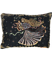 Christmas Angel With Trumpet Tapestry Pillow 12 x 18