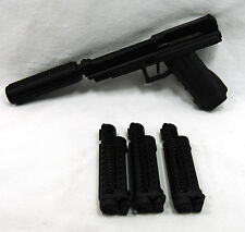 Used Tiberius Arms T8 Paintball Pistol Flasc Barrel Mock Suppressor 3 Magazines