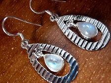 Rainbow Moonstone Grooved Hoop Dangling 925 Sterling Silver Dangle Earrings New