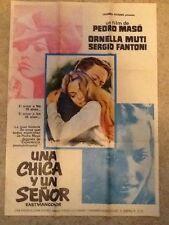 "SPAIN POSTER~Una chica y un senor 1974 27x37"" Original 1Sheet Pedro Maso Rare~"