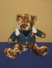 "10"" M&M's Tan Swirl Plush Teddy Bear in Jeans Logo Jacket Bean Plush"
