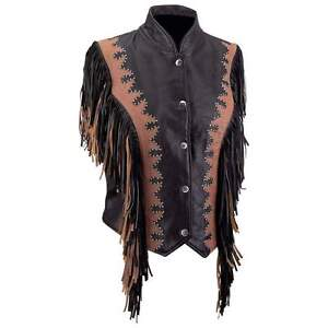 Solid Cowhide Leather Lady's Vest  with Brown Fringe*Beautiful & Unique*
