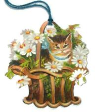 Lot of 6 Cats In Baskets of Flowers Gift Tags 5 Designs