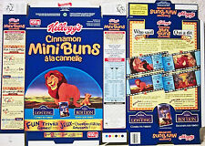 1995 Lion King Canadian Cinnamon Mini Buns Cereal Box unused factory Flat s268