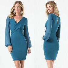 BEBE BLUE DAHLIA SHEER LONG SLEEVE STRETCH DRESS NEW $99 XSMALL XS