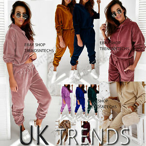 Ladies Lounge Wear Set Womens 2 Piece Tracksuits Velvet Hoodies Pyjamas Joggers