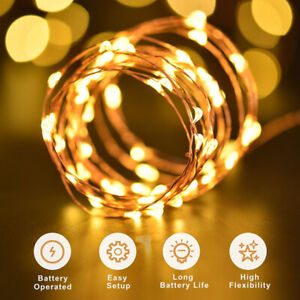 2m/3m/5m/10m LED Battery Micro Rice Wire Copper Fairy String Lights Party Weding
