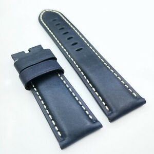 26mm /22mm Dark Blue Waxy Calf Leather Pin Buckle Strap for PAM RADIOMIR LUMINOR