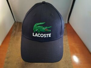 Lacoste Strapback Baseball Cap Blue w/Green/ Whte Embroidered Emblem Dad Hat