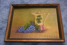 VINTAGE PURPLE GRAPES LEAVES ANTIQUE GERMAN CHOCOLATE COFFEE TEA POT PAINTING