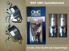BRP Johnson Evinrude 9.5 HP Tune Up Kit  2 BRP Coils 2 Spark Plugs J4C 1964-1973