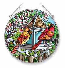 "AMIA STAINED GLASS SUNCATCHER 6.5"" ROUND SPRING MOVE IN CARDINALS BIRDS  #42264"