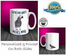 African Grey Personalised Ceramic Mug: Perfect Gift. (P047)