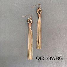 Rose Gold Finished Metal Long Snakeskin Chain Tassel Drop Dangle Hook Earrings
