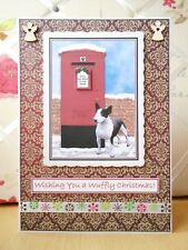 Handmade Mini Bull Terrier Dog Christmas Card Puppy Large Post Box Red Wuffly