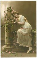 1910s Glamor Glamour FASHION BEAUTY Flower Lady French tinted photo postcard