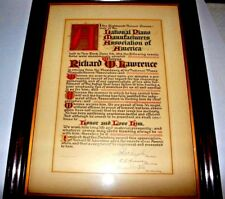 Vintage 1914 Framed National Piano Manufacturers Association Of America Award