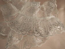 White and Silver Ruffled Lace Trim, 2 In Wide, 2 YARDS, Candlewick Lace
