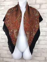 """Vintage 60s Wool Scarf Wrap Black with Orange Red Paisley Eyelash Fringe 38x38"""""""