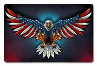 "AMERICAN BALD EAGLE US FLAG WINGS 18"" HEAVY DUTY USA MADE METAL HOME DECOR SIGN"
