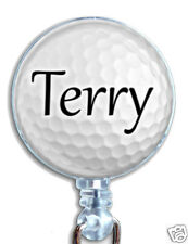 Personalized Golf Ball Badge Reel Retractable Lanyard ID Name Badge Holder
