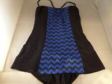 NWT Bettie Page Tide & Tested 1pc Swimsuit Size 8 Blue Black Chevron