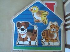 Melissa & Doug Crafted by hand  home animals wood puzzle jumbo knob puzzles