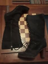 FRYE VILLAGER BROWN LEATHER BOOTS US 8.5 LACE UP ZIP UP MSRP $$$