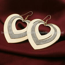 Exaggerated Large Gold Plated Frosted Heart Dangle Drop Earrings Jewelry Gift