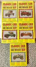 5 VINTAGE CLASSIC CAR COLOR BY NUMBER NOAH'S ARK CRAYONS ON WOOD CRAFT KITS NEW