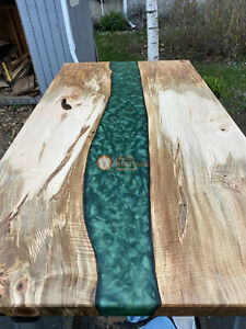 Epoxy Green Resin dining, sofa, center table top Live Edge Walnut Custom Orders
