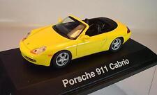 Schuco 1/43 PORSCHE 911 Cabrio Giallo in plexiglas BOX #1395