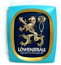 Lowenbrau Light Special & Dark Special Beer Plastic Hanging Bar Sign Blue & Gold