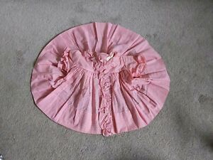 VTG 1950s Baby Dress Cotton Pink Gingham Plaid Check Ruffles Pearl Pleats 9m NOS