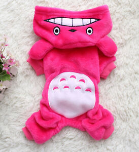Cartoon Puppy Cat Jumpsuit Dog Clothes Sweater Pet Hoodie Costume Rose Red XS