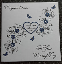 HANDMADE PERSONALISED WEDDING DAY CARD,HEART & FLOURISHES,NAVY BLUE