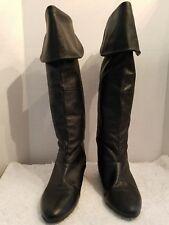 EUC Chinese Laundry Z-Toulu Tall Cuffed Knee Black Leather Boots sz 6.5-#200